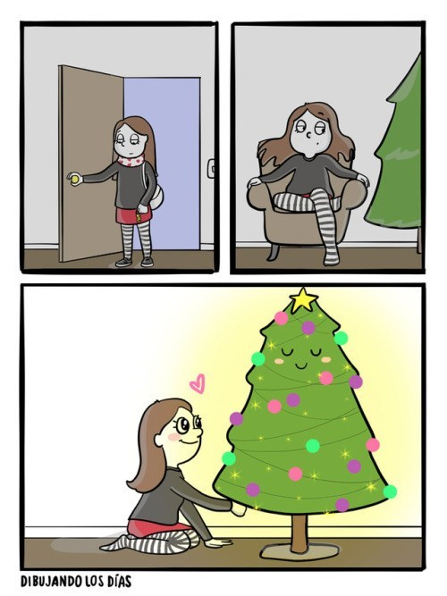 chica llega deprimida pero todo mejora al ver su arbol de navidad