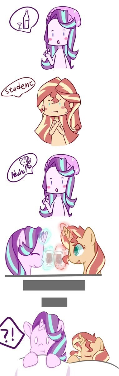 shipping equestria girls underage drinking starlight glimmer comic sunset shimmer yuck - 9110220288
