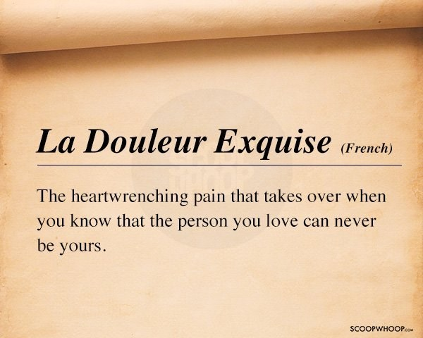 Text - La Douleur Exquise (French) The heartwrenching pain that takes over when you know that the person you love can never be yours. SCOOPWHOOPco