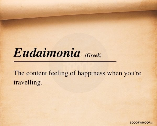 Text - Еudaimonia (Greek) The content feeling of happiness when you're travelling. SCOOPWHOOPco