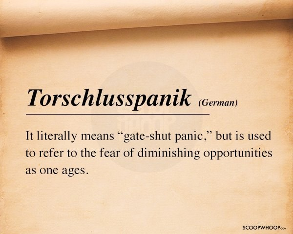 "Text - Torschlusspanik (German) It literally means ""gate-shut panic,"" but is used to refer to the fear of diminishing opportunities as one ages SCOOPWHOOPco"