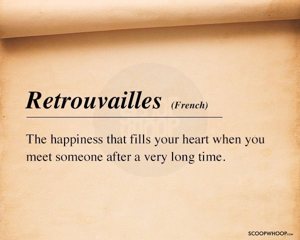 Text - Retrouvailles (French) The happiness that fills your heart when you meet someone after a very long time SCOOPWHOOPco