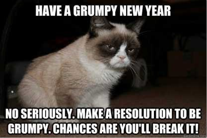 Cat - HAVE A GRUMPY NEW YEAR NO SERIOUSLY.MAKEA RESOLUTION TO BE GRUMPY. CHANCES ARE YOU'LL BREAK IT!