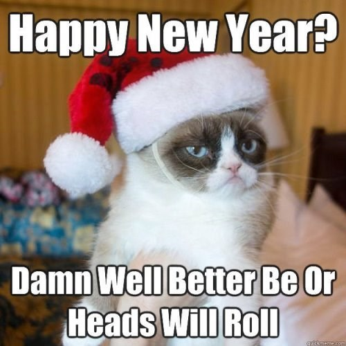 Cat - Happy New Year? Damn Well Better Be Or Heads Will Roll quickmeme 3arm