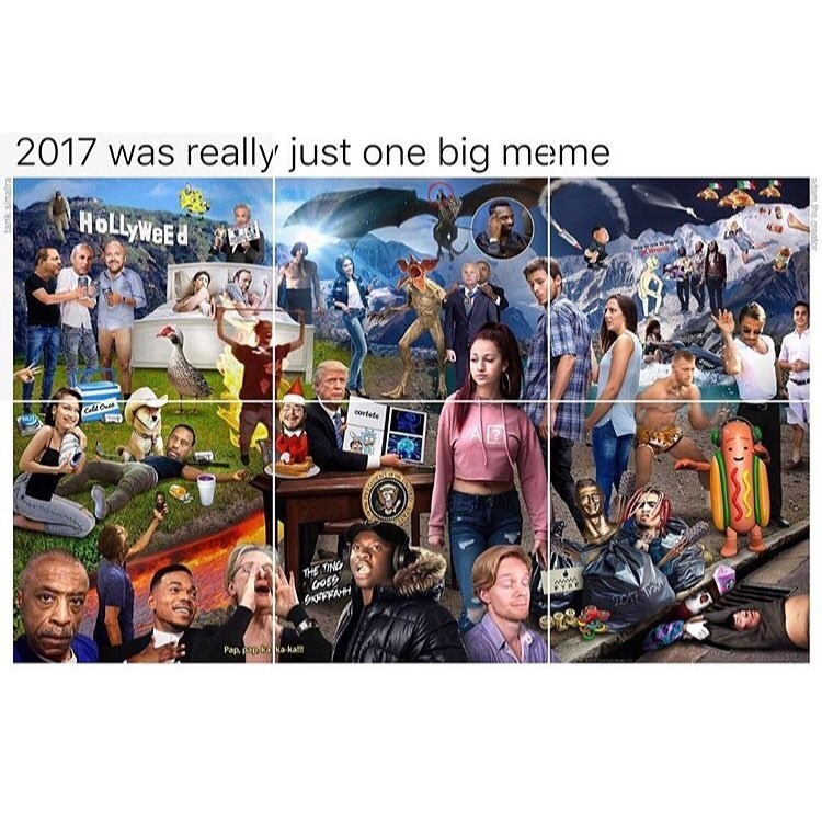 Funny meme about 2017 being one big meme.