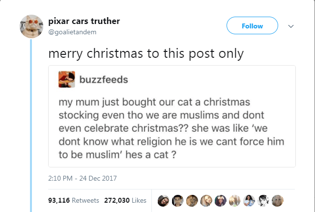 Text - pixar cars truther Follow @goalietandem merry christmas to this post only buzzfeeds my mum just bought our cat a christmas stocking even tho we are muslims and dont even celebrate christmas?? she was like 'we dont know what religion he is we cant force him to be muslim' hes a cat? 2:10 PM - 24 Dec 2017 93,116 Retweets 272,030 Likes