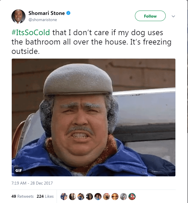 Face - Shomari Stone Follow @shomaristone #ItsSoCold that I don't care if my dog uses the bathroom all over the house. It's freezing outside. GIF 7:19 AM 28 Dec 2017 - 49 Retweets 224 Likes