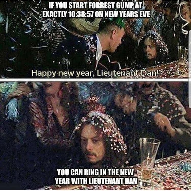 Funny meme about new years and forrest gump.