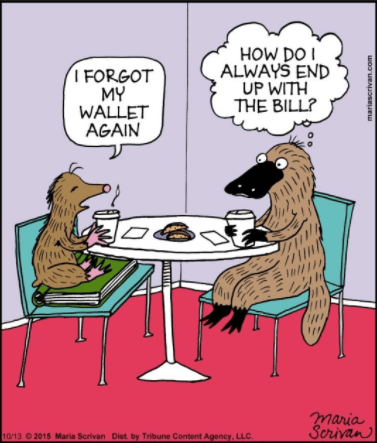 Cartoon - HOW DOI ALWAYS END UP WITH THE BILL? I FORGOT MY WALLET AGAIN maria Scrivan 10/13 2015 Maria Scrivan Dist. by Tribune Content Agency, LLC mariascrivan.com