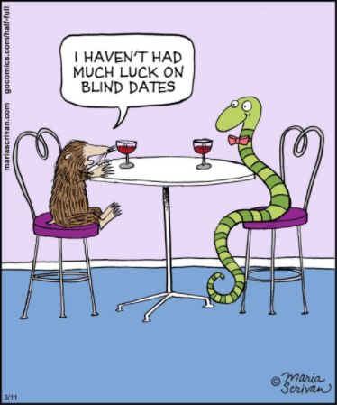 Cartoon - IHAVEN'T HAD MUCH LUCK ON BLIND DATES maria Scrivan 3/11 mariascrivan.com gocomics.com/half-full