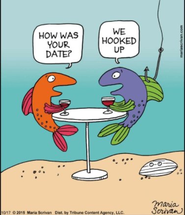 Cartoon - WE HOOKED UP HOW WAS YOUR DATE? maria Scrivan 10/17 2015 Maria Scrivan Dist. by Tribune Content Agency, LLC. mariascrivan.com