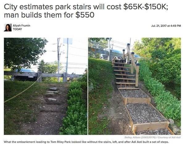 Wall - City estimates park stairs will cost $65K-$150K; man builds them for $550 Alyah Frumin TODAY Jul. 21, 2017 at 4:49 PM Bailey, Alison (206535176)/Courtesy of Adi Ast What the embankment leading to Tom Riley Park looked like without the stairs, left, and after Adi Astl built a set of steps.