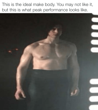 Barechested - This is the ideal make body. You may not like it, but this is what peak performance looks like.