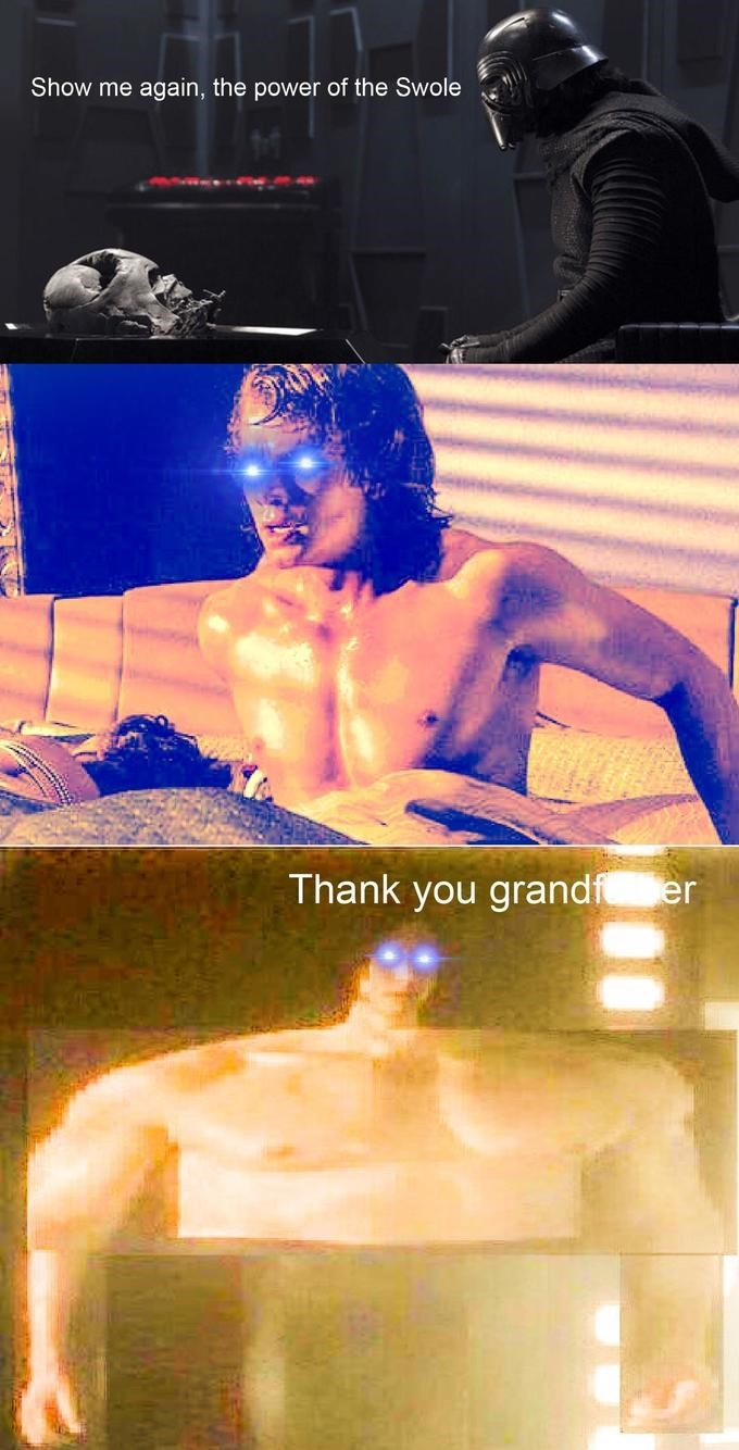Barechested - Show me again, the power of the Swole Thank you grandf er
