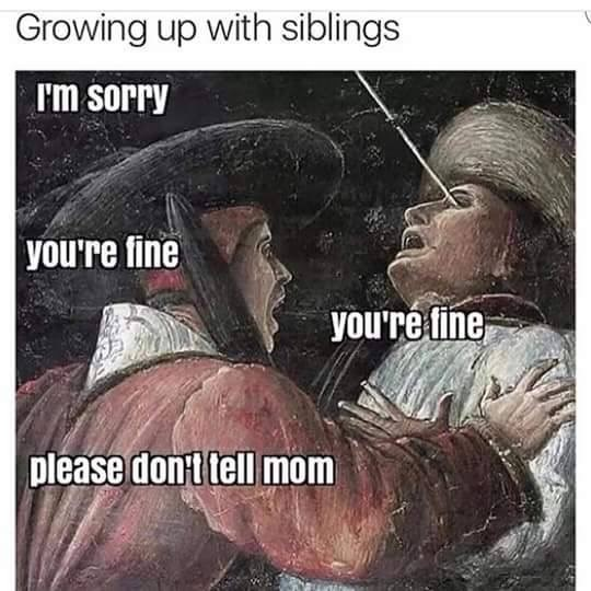 meme - Photo caption - Growing up with siblings I'm sorry you're fine you're fine please don't tell mom