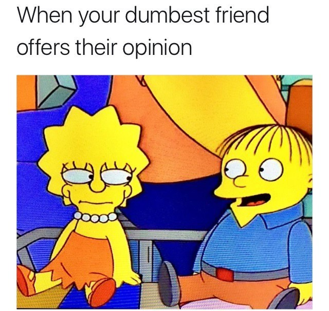 meme - Cartoon - When your dumbest friend offers their opinion