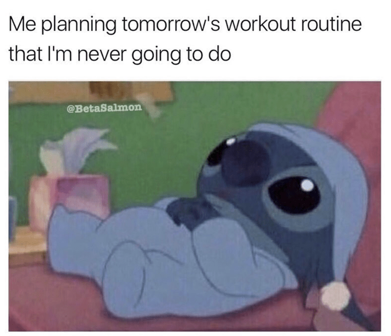 meme - Cartoon - Me planning tomorrow's workout routine that I'm never going to do @BetaSalmon