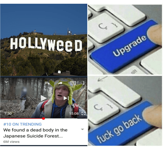meme about logan paul and hollyweed, suicide forest.