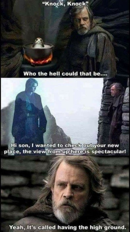 funny star wars meme about the high ground, anakin and luke skywalker.
