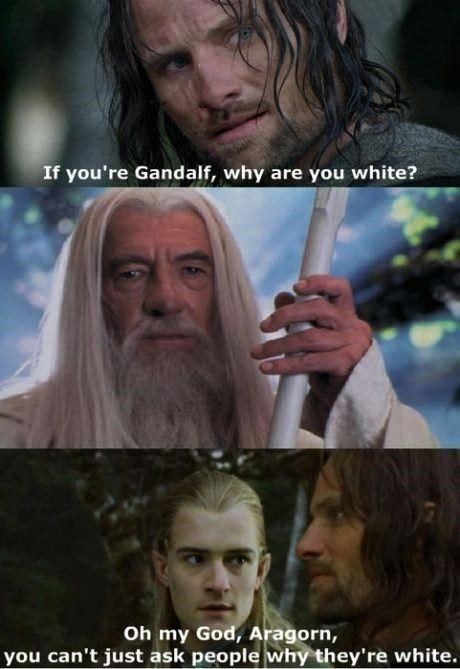 meme - Movie - If you're Gandalf, why are you white? Oh my God, Aragorn, you can't just ask people why they're white.