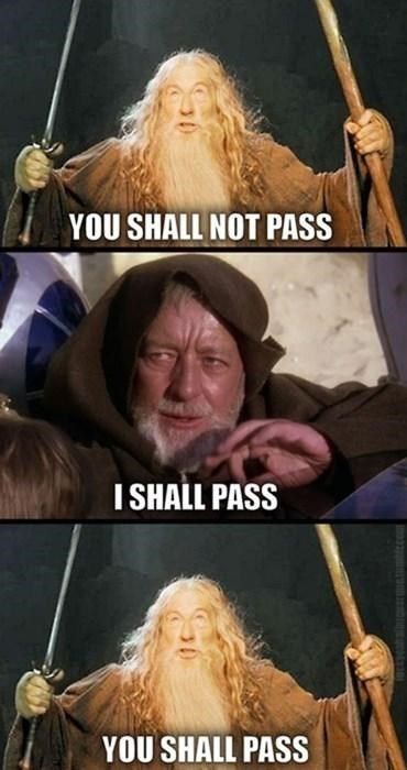 meme - Fictional character - YOU SHALL NOT PASS I SHALL PASS YOU SHALL PASS