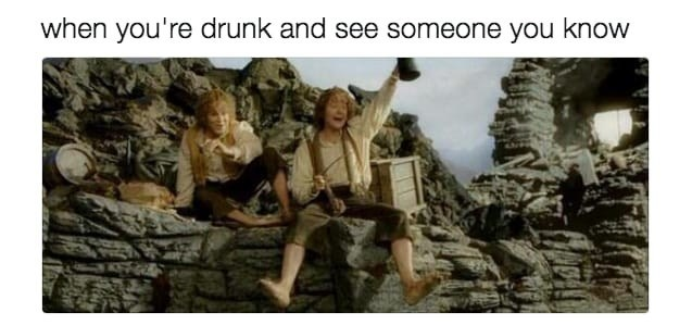 meme - Adaptation - when you're drunk and see someone you know