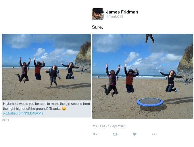 Adaptation - James Fridman @famie013 Sure t 1 Hi James, would you be able to make the girl second from the right higher of the ground? Thanks pic.twitter.com/3SLD4DXPia Apr 4 2:45 PM 17 Apr 2016 7