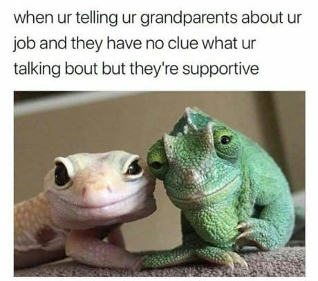 when you are telling your grandparents about your job