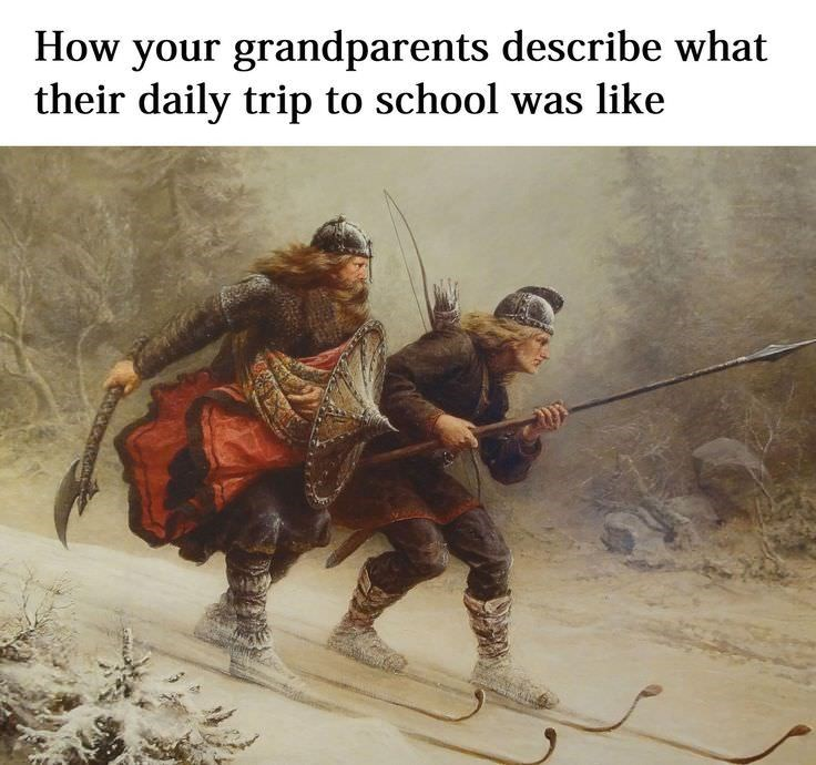 Text - How your grandparents describe what their daily trip to school was like