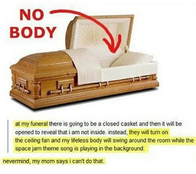 Product - NO BODY at my funeral there is going to be a closed casket and then it will be opened to reveal that i am not inside. instead, they will turn on the ceiling fan and my lifeless body wll swing around the room while the space jam theme song is playing in the background. nevermind, my mom says i can't do that.