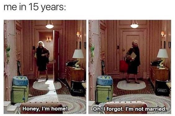 Room - me in 15 years: CHRED Oh,I forgot. 'm not married Honey, I'm home!