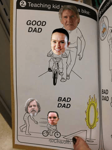 text book with star wars characters good dad bad dad