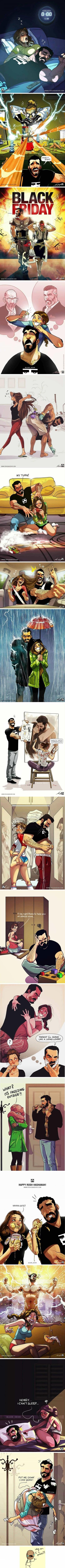 artista israeli que ilustra la vida con su pareja como si fuera un comic