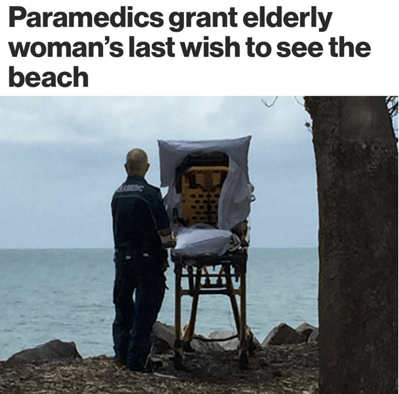 wholesome meme of paramedics that fulfilled a woman's last wish