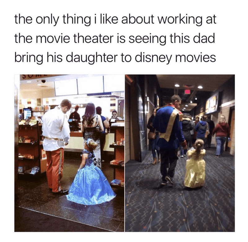 wholesome meme of a dad that dresses up with his daughter to see disney movies