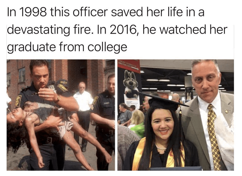 wholesome meme of an officer that watched a girls life he saved graduate from college