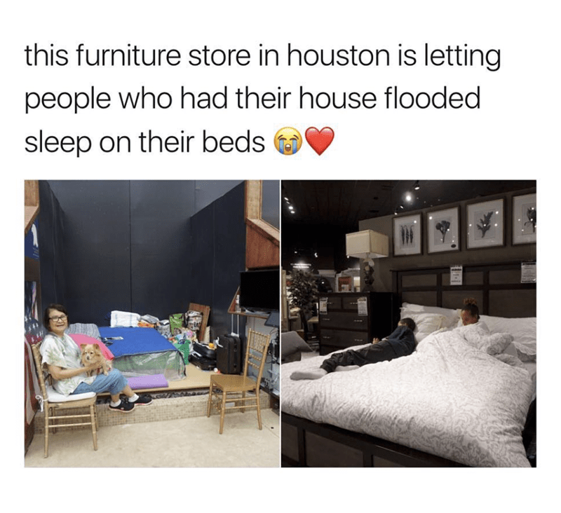 wholesome meme of a furniture letting people use their beds after a flood