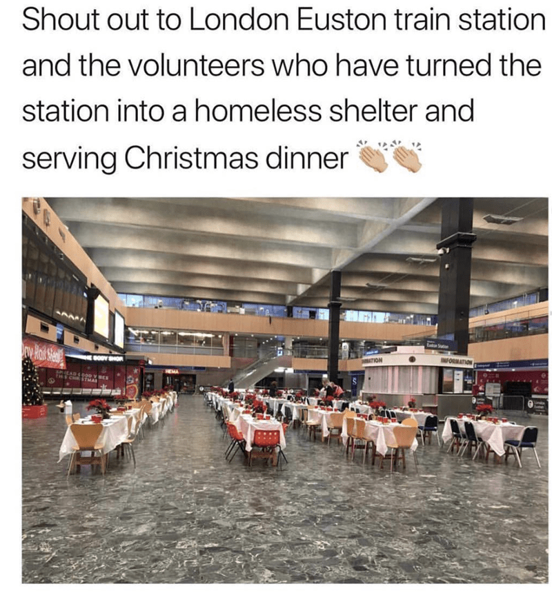 wholesome meme of a train station turned into a christmas dinner for the homeless