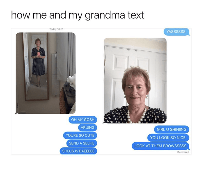 wholesome meme of a grandma texting