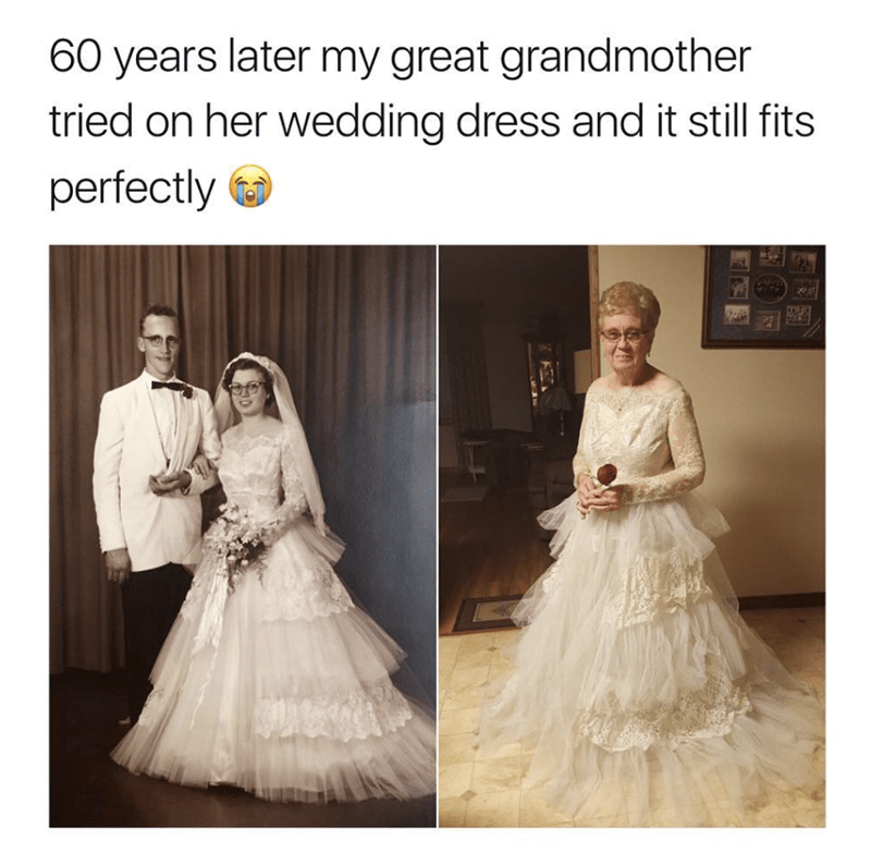 wholesome meme of a woman trying on her dress 60 years later