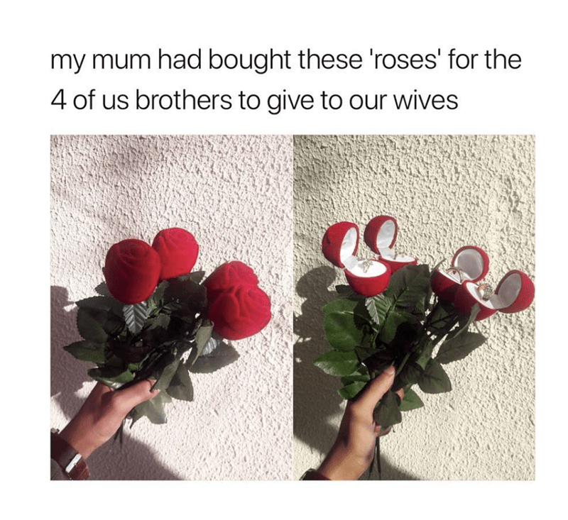 wholesome meme of roses giving to siblings by their mom that has a ring inside