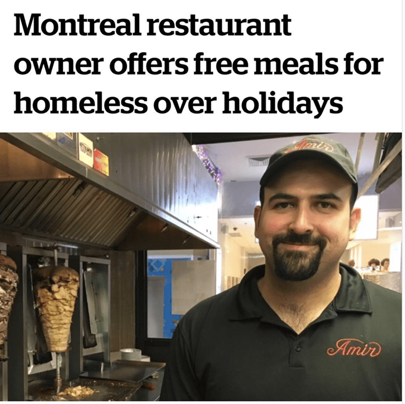 wholesome meme of a restaurant that offered free meals for homeless over holidays