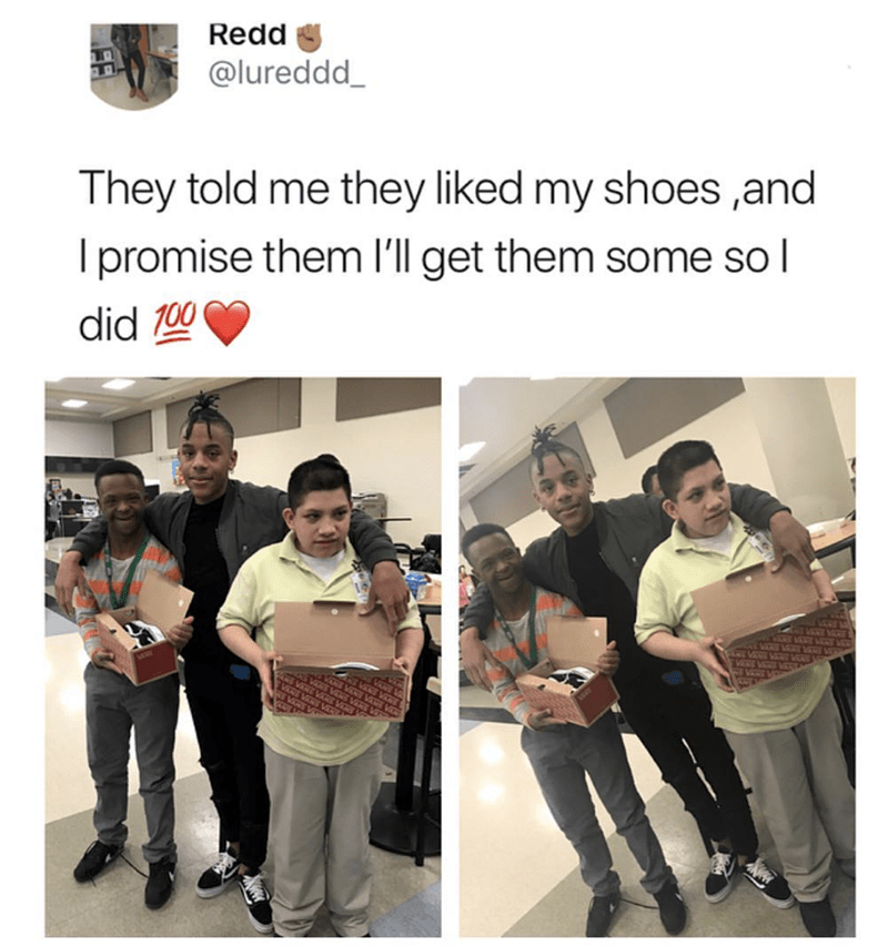 wholesome meme of a man that bought kids a pair of shoes they liked
