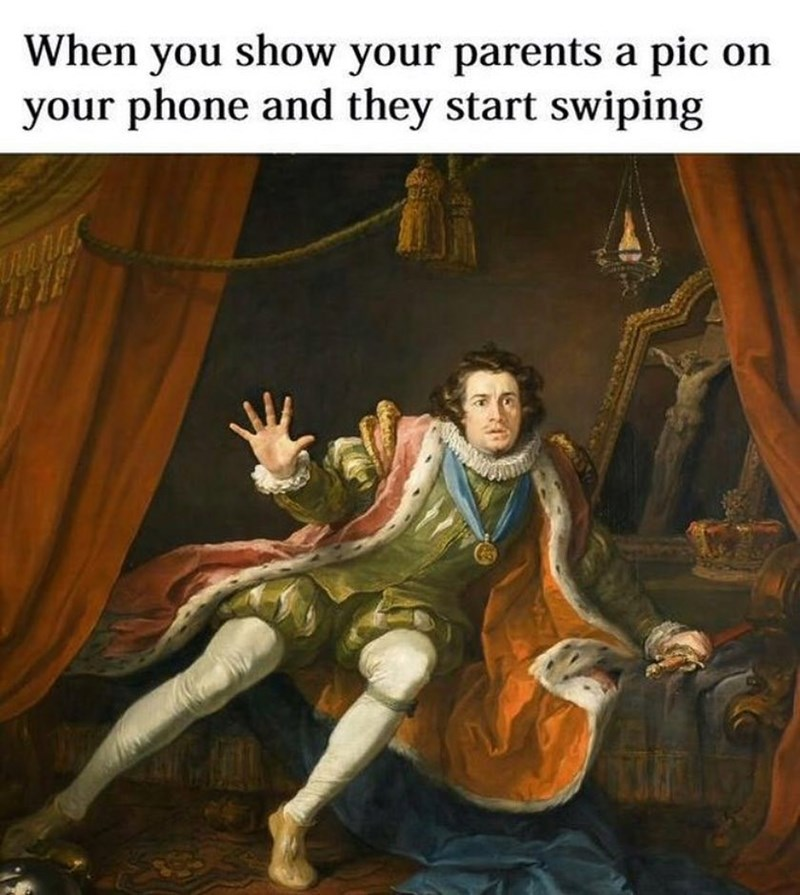 Funny meme about parents wiping on your phone.