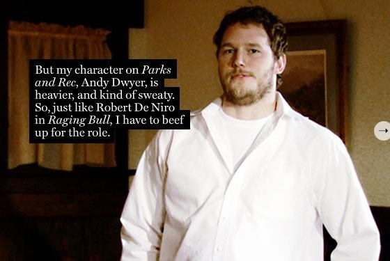 Font - VIMO But my character on Parks and Rec, Andy Dwyer, is heavier, and kind of sweaty. So, just like Robert De Niro in Raging Bull, I have to beef up for the role. T