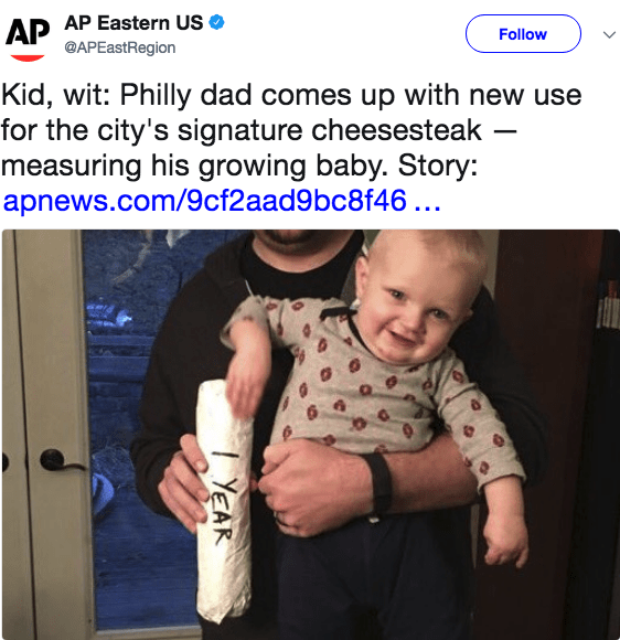 Product - AP AP Eastern US @APEastRegion Follow Kid, wit: Philly dad comes up with new use for the city's signature cheesesteak measuring his growing baby. Story: apnews.com/9cf2aad9bc8f46.. YEAR