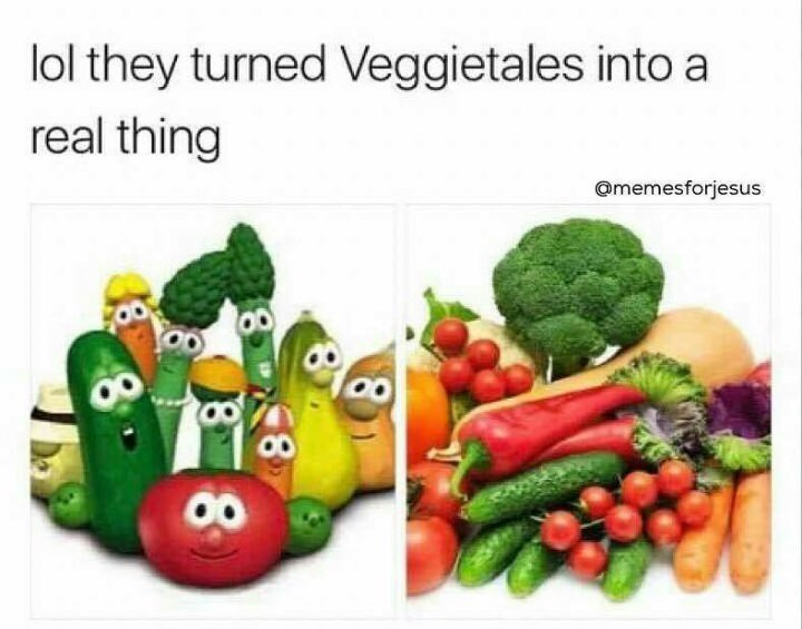meme - Natural foods - lol they turned Veggietales into a real thing Omemesforjesus
