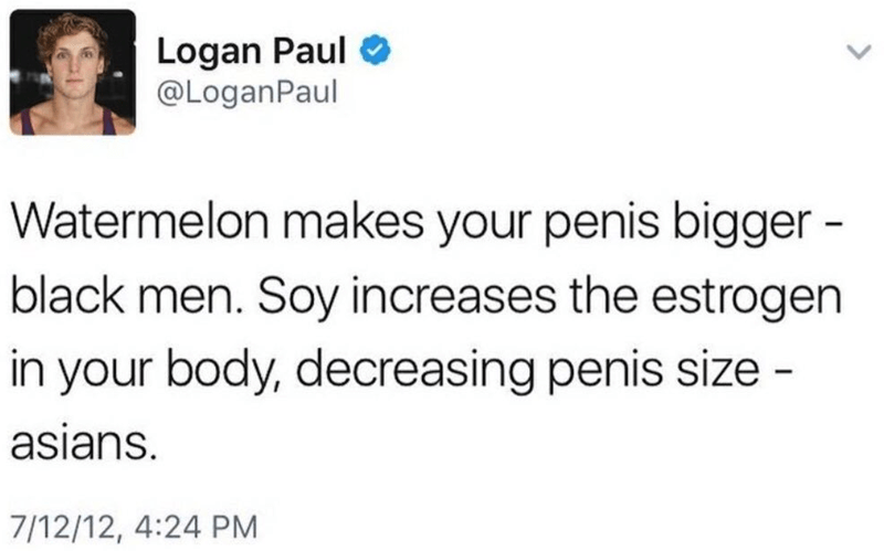 Text - Logan Paul @LoganPaul Watermelon makes your penis bigger - black men. Soy increases the estrogen in your body, decreasing penis size - asians. 7/12/12, 4:24 PM