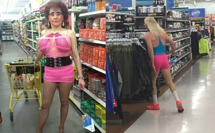 woman in pink mesh dress and man in tiny pink bikeshorts people of walmart memes