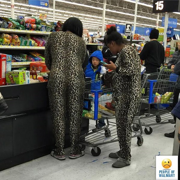 couple dressed in matching leopard outfits people of walmart memes